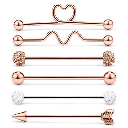 Yaalozei 6PCS 14 Gauge Hear Arrow Crystal Gilitter Stainless Steel Industrial Barbell Cartilage Helix Earring Body Piercing Jewelry for Women Men 1 1/2Inch(38mm) Rose Gold