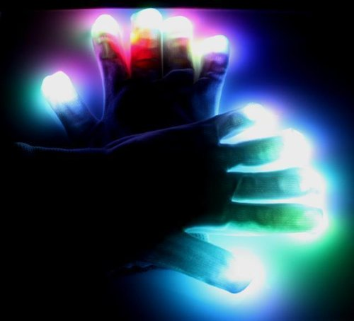 Raver Blacked Out Gloves RGB LED 7 Colors Light Show Gloves