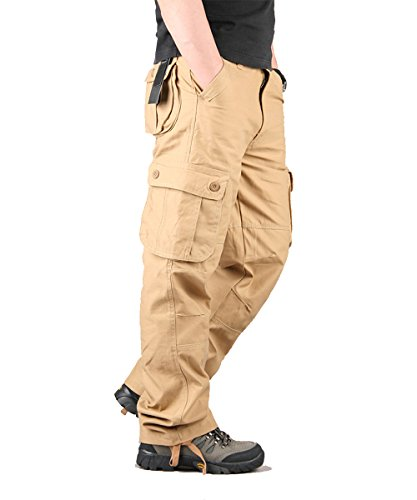 CloSoul Direct Men's Military Cargo Pants Cotton Straight-Fit Trousers 6 Pockets (Khaki/40) (Pleated Cargo)