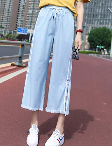 para Mujeres Vaqueros sólido Color Sueltos Pantalones de Blue algodón Light YFLTZ BPw4qUx