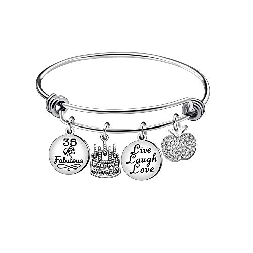 13th 18th 21st 30th 40th 50th 60th Birthday Gifts for Women Girls Adjustable Bracelet Bangle Stainless Steel Jewelry (35 Years Old)