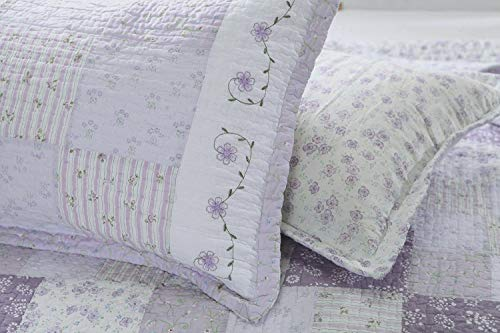 Cozy Line Home Fashions King Shams 20''x 36'', Love of Lilac Light Purple Orchid Lavender Real Patchwork 100% Cotton Quilted Pillow Sham, Gifts for Women Girls (King Shams (Set of 2)) (French Quilted Pillow)