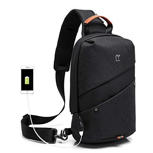 Unisex Sling Bag Backpack Sport Travel Sport Shoulder Chest Crossbody Daypack Black