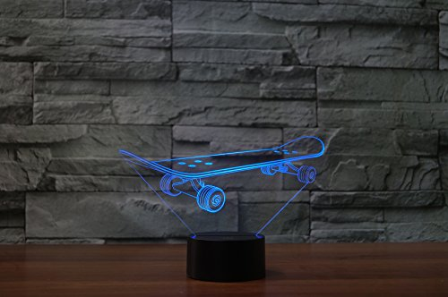 3D Optical Illusion LED Desk Lamp , 7 Color Changing with USB Cable Touch Button Night Light - Best Gift for Kids/ Friends/ Birthdays/ Home Bedroom Decor Lighting (skateboard)
