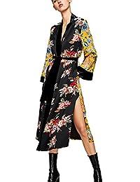 Women's Long Floral Kimono Cardigans Blouse with Belt Bathrobes