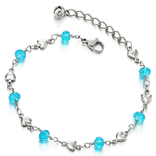 - Stainless Steel Anklet Bracelet with Hearts and Blue Acrylic Crystal Beads