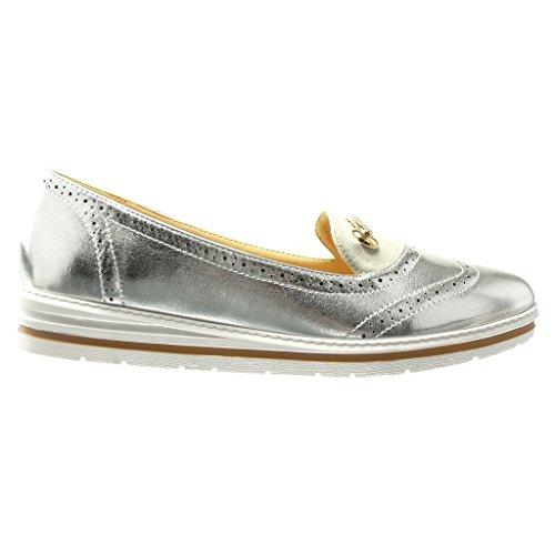 Angkorly - Zapatillas de Moda Mocasines slip-on suela de zapatillas mujer joyas strass perforado Talón Plataforma 3 CM - Plata