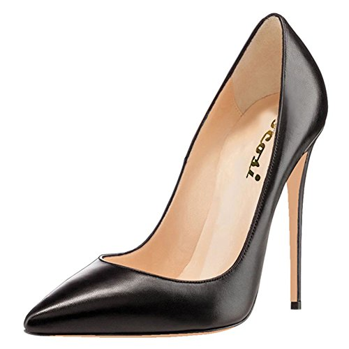 VOCOSI Women's High Heels,Pointed toe Patent Pumps Shoes for Ladies Party Dress 4.7 inches M-Black 8 (Black Leather Ladies Pumps)