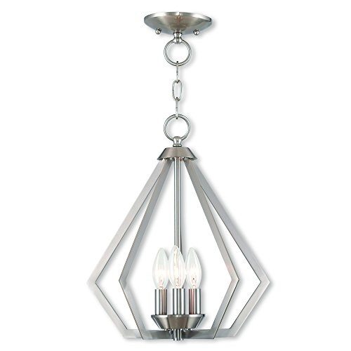 Livex Lighting 40923-91 Prism 3 Light BN Mini Chandelier/Ceiling Mount, Brushed Nickel