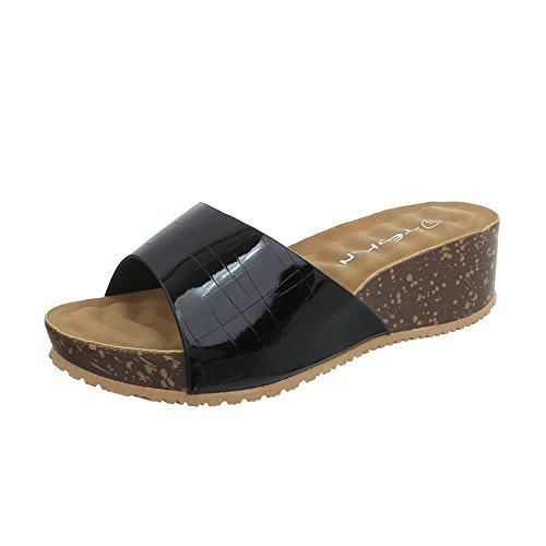 Heel 93 at Black Sandals Women's Wedge Mules Design Ital A qIg4ZZ