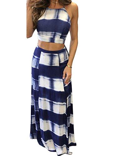 Women's 2 Piece Outfits Printed Backless Halter Crop Top Maxi Skirt (Medium,Blue) Blue Skirt Outfit