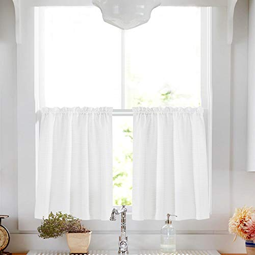 (Lazzzy White Tier Curtains for Kitchen 36