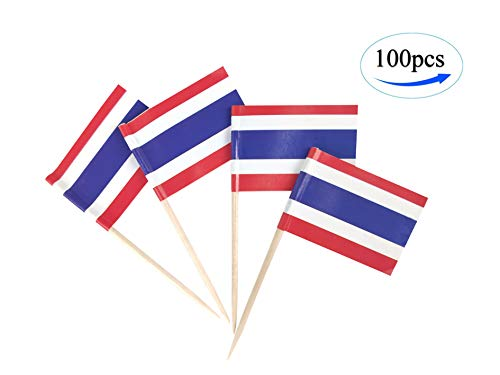 JBCD Thailand Flag Thai Flags,100 Pcs Cupcake Toppers Flag, Country Toothpick Flag,Small Mini Stick Flags Picks Party Decoration Celebration Cocktail Food Bar Cake Flags