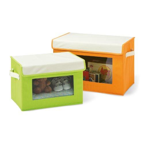 Seville Classics Fabric Storage Box Set, 2-Pack, (See Thru Bins Toy Box)