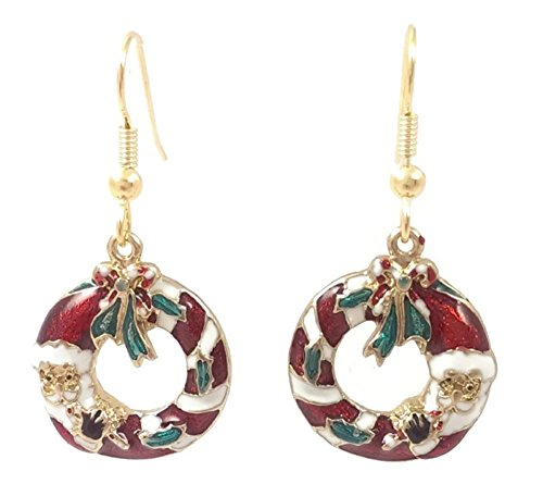 Stainless Steel Dangle Earrings Santa Wreath Gold Tone