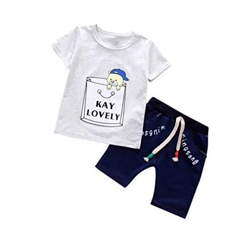 2PCS Toddler Kids Baby Boys Costume Cartoon Print T-shirt + Pants Clothing Set]()
