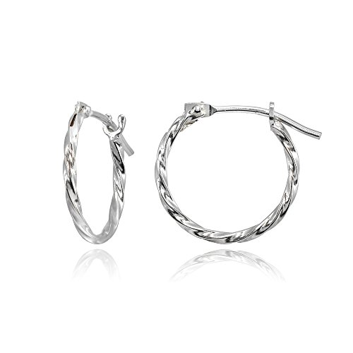 14K White Gold Tiny Small 12mm High Polished Twist Thin Lightweight Unisex Hoop Earrings for Men Women Girls - 14k Gold Hoop Dangle Earrings