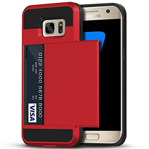 Galaxy S7 Edge Case, Anuck Slidable ID Card Slot Holder Galaxy S7 Edge Wallet Case [Credit Cards Pocket][Hard Shell] Shockproof Armor Rubber Bumper Protective Case Cover for Galaxy S7 Edge - Red