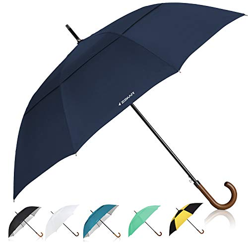 ZEKAR Wooden J-Handle Umbrella, 54/62 / 68 inch, UV & Classic Versions, Large Windproof Stick Umbrella, Auto Open for Men and Women Golf Umbrella