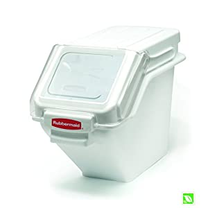 Rubbermaid Commercial Shelf Ingredient Bin with Scoop, 100-Cup Capacity, White, FG9G5700WHT