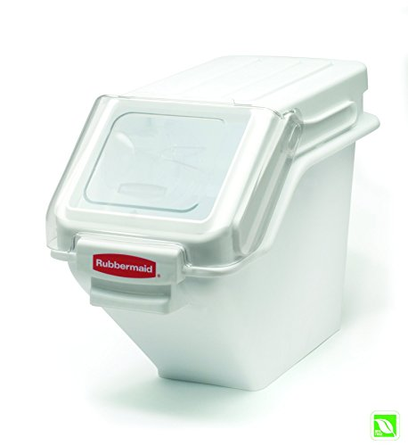 Rubbermaid Commercial Shelf Ingredient Bin with Scoop, 100-Cup Capacity, White, FG9G5700WHT ()