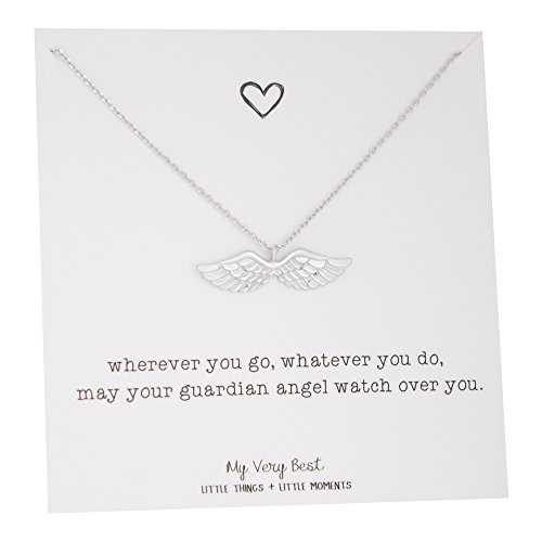 My Very Best Dainty Angel Wing Necklace (silver plated brass) (Silver Angel Necklace Guardian)