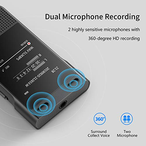 Voice Recorder, BENJIE Digital Dictaphone (Black 16GB)