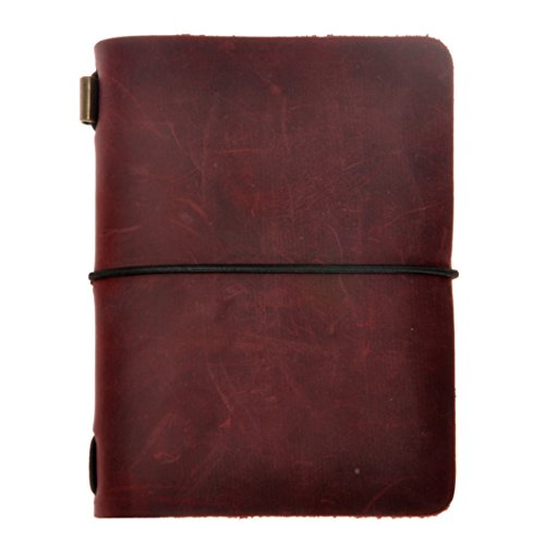 ZLYC Vintage Handmade Refillable Leather Passport Size Travelers Journals Diary Notepad Notebook, Dark Red