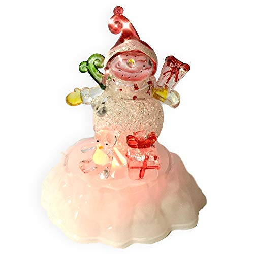 Snowman Christmas Decoration - Color Changing LED Acrylic Winter Snowman Figurine - Tabletop Snowman Decoration - Battery Operated