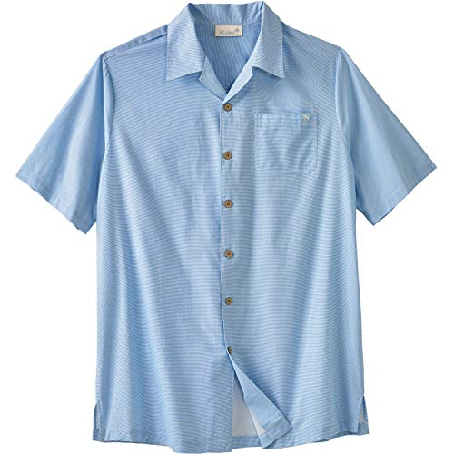 Kingsize Men's Big & Tall Woven Camp Shirt, Azure Blue Stripe Big-6Xl
