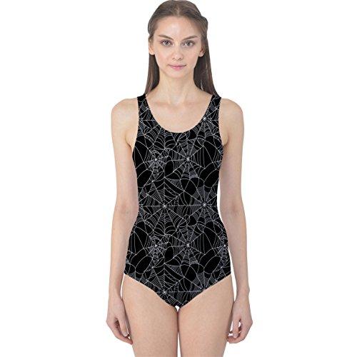 CowCow Black Halloween Spider Web Pattern Women's One Piece Swimsuit, Black-L -