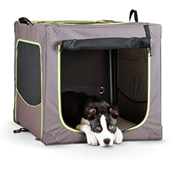 """K&H Pet Products Classy Go Soft Pet Crate Large Brown/Lime Green 36"""" x 24"""" x 23"""""""