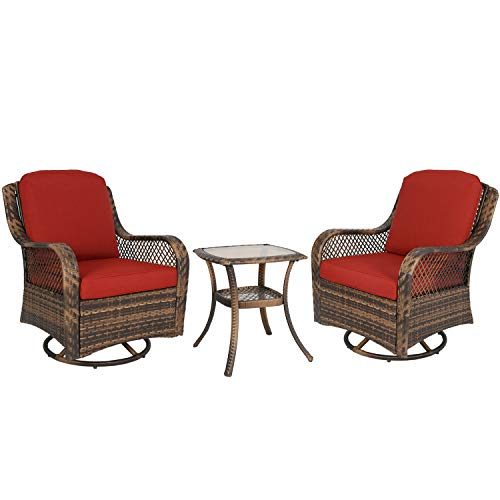 Ulax furniture 3-Piece Patio Rocking Swivel Wicker Chair, Outdoor Conversation Bistro Set, 2 Cushioned Swivel Glider Chair with Side Table (Red)
