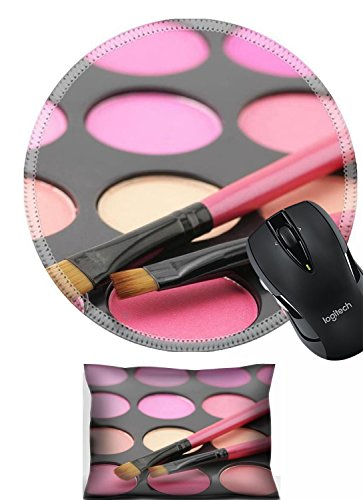 Price comparison product image Liili Mouse Mouse Wrist Rest and Round Mousepad Set, 2pc Wrist Support IMAGE ID: 9524734 Palette of colorful blushes and brushes close up