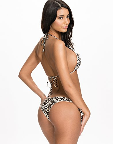 NLY Beach Women's Ruffle Halter Top Leopard Size Medium 82% polyamide and 18% elastane.