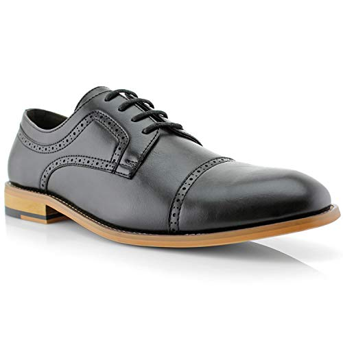 Ferro Aldo Jared MFA19607L Mens Classic Brogue Derby Perforated Oxford Dress Shoes - Black, Size 12