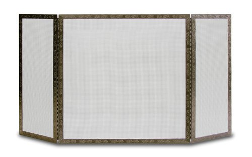 Pilgrim Home and Hearth 18237 Bay Branch Embossed Tri Panel Fireplace Screen, Burnished Bronze, 48