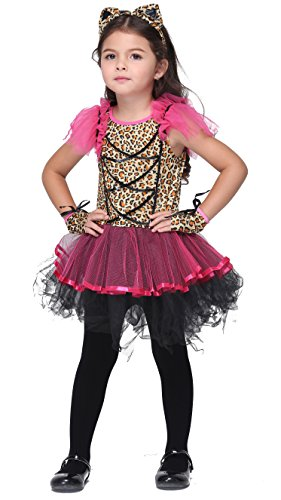 [Girlscos Girl's Cute Leopard Dress 3 Piece Suit Kids Halloween Cosplay Costumes X-Large Red] (Three Girl Group Halloween Costumes)