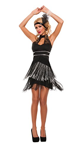Sexy Flapper Dresses (Starline Women's Jazzy Flapper Sexy Roaring 20s 3 Piece Costume Dress Set, Silver/Black, Small)