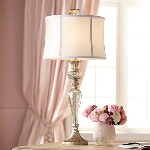 Alyson Traditional Table Lamp Mercury Glass Silver Champagne White Drum Shade for Living Room Family Bedroom Nightstand - Regency Hill