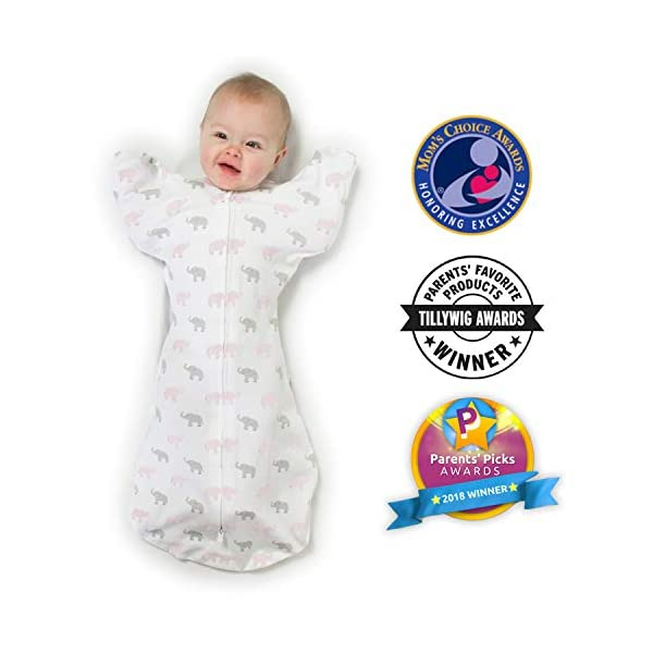 Amazing Baby Transitional Swaddle Sack with Arms Up Mitten Cuffs, Tiny Elephants, Pink, Medium, 3-6 Months (Parents' Picks Award Winner)