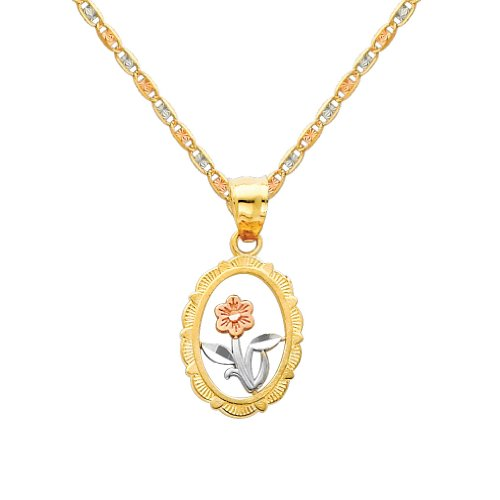 3 Color Gold Polished Flower Charm Pendant with 1.5mm Valentino Diamond Cut Chain Necklace - 20