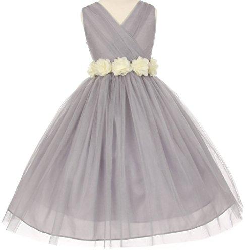 Big Girls' Silver V Neck Removable Floral Sash Flowers Girls Dresses Ivory Size 14 (C12C20SV)