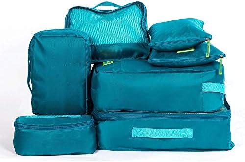 トラベルポーチ 旅行荷物オーガナイザーバッグ圧縮ポーチ服スーツケースのための7PCSパッキングキューブ値セット(カラー:グリーン、ローズレッド) (Color : Green, Size : Free Size)