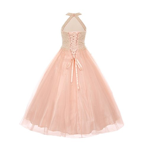 Big Girls Blush Dazzling Halter Neck Party Tulle Junior Bridesmaid Dress 12 by Cinderella Couture