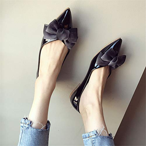 41 work shoes fashion leather shoes flat Spring pointed ladies casual shallow patent shoes EU FLYRCX OgCqH