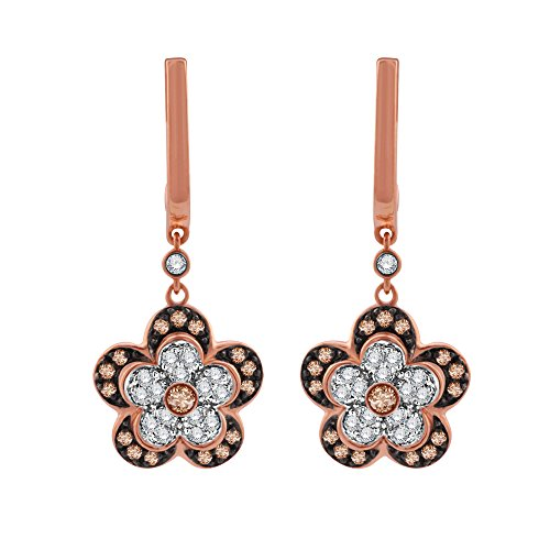 (10k Rose Gold Flower Shaped White and Brown Diamond Drop Earrings (0.62 Carat))