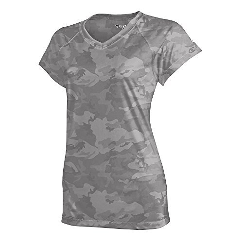 Champion by Women's Essential Double Dry V-Neck Tee_Stone Gray Camo_XL
