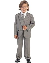 5-Piece Boy's 2-Button Suit Tuxedo 5 Colors: Black White Ivory Khaki Light Gray