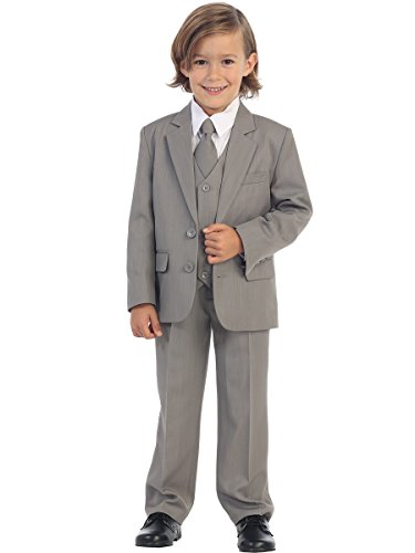 Light Grey Boys Suit (Avery Hill 5-Piece Boy's 2-Button Dress Suit Tuxedo - Light Gray)